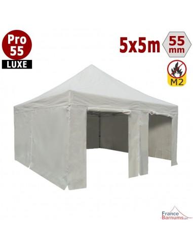 Barnum Alu Pro 55 LUXE M2 5mx5m BLANC + Pack Côtés 580gr/m²