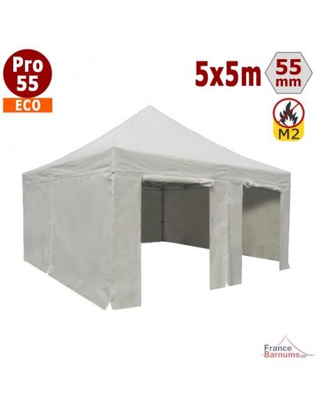 Tente pliante Alu Pro 55 ECO 5mx5m BLANC + Toit 580gr/m² et Côtés 380gr/m²