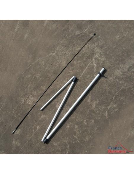Mât en tubes aluminium emboîtables et tige flexible en fibre de verre pour oriflamme 2,40m