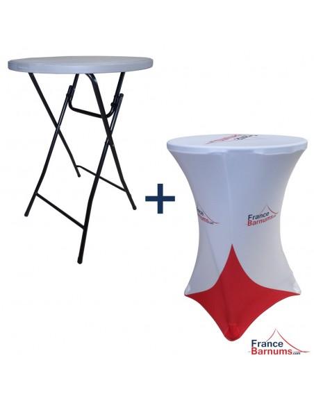 Table pliante mange-debout + housse personnalisée