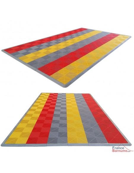 Tous les motifs sont possibles avec nos dalles de sol clipsables (rayures, damiers...) : faites jouer votre imagination !