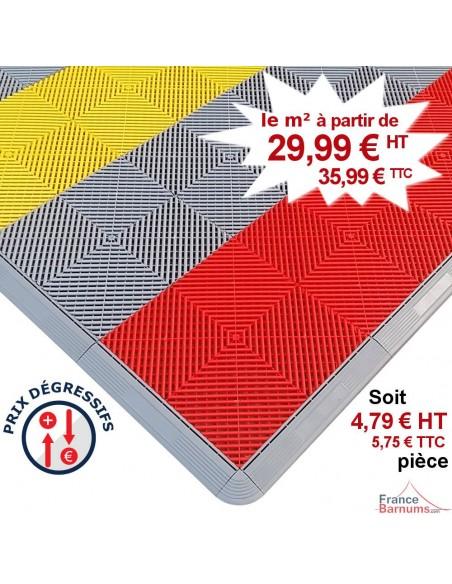 Pack de 30 dalles de sol clipsables (4,80m²) de 40cm x 40cm en polypropylène