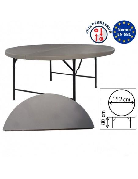 Table pliante ronde en polyéthylène haute densité grise