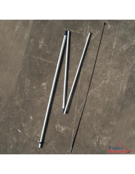 Mât en tubes aluminium emboîtables et tige flexible en fibre de verre pour oriflamme 3,50m
