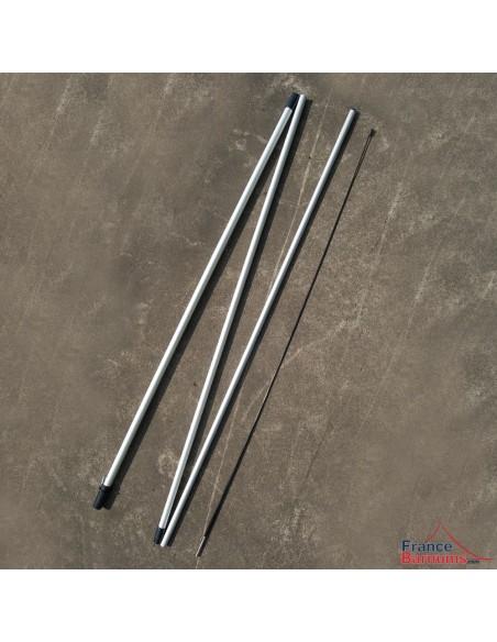 Mât en tubes aluminium emboîtables et tige flexible en fibre de verre pour oriflamme 4,80m