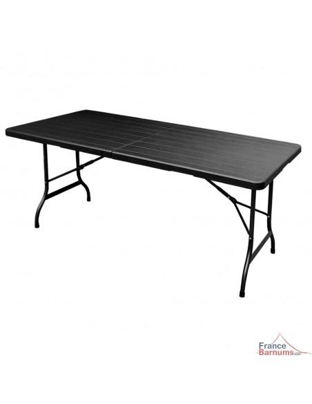 Table de réception NOIRE imitation BOIS rectangulaire de 180cm pliante en VALISE en HDPE