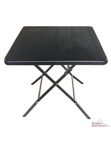 Table de réception carrée NOIRE imitation BOIS pliante de 78cm