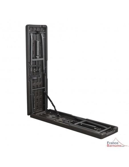 Pack de 2 bancs de réception NOIRS imitation bois de 180cm pliants en valise en HDPE