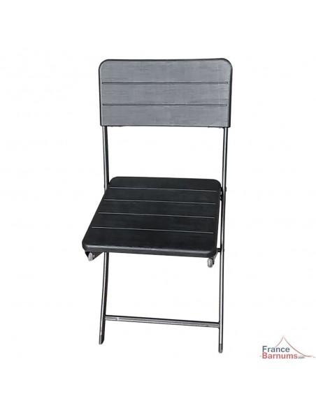 Lot de 4 chaises pliantes pour vos réceptions en polyéthylène haute densité noir imitation lattes de bois
