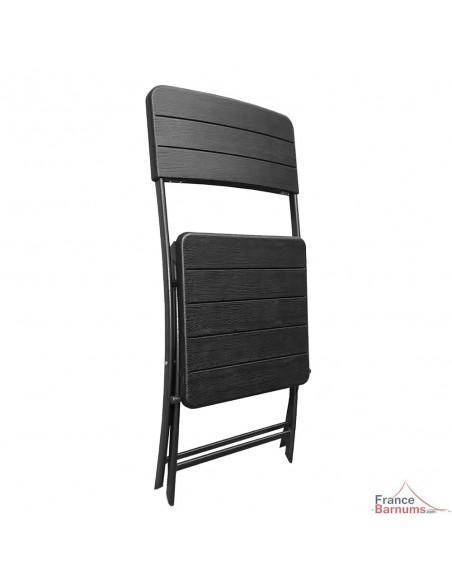 Pack TABLE CARRÉE pliante 78cm + 4 CHAISES pliantes en HDPE noir imitation Bois