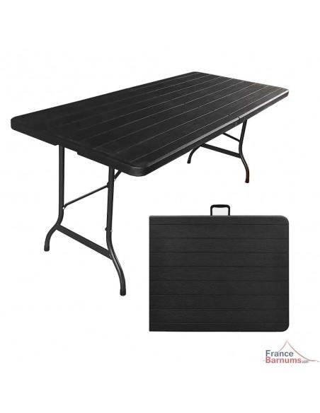 Pack TABLE RECTANGULAIRE pliante 1,80m + 2 BANCS pliants en HDPE noir imitation Bois