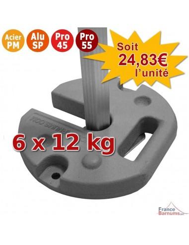 Pack de 6 POIDS en FONTE de 12KG pour barnum Acier Premium, Alu Semi-Pro, Pro 45 et Pro 55
