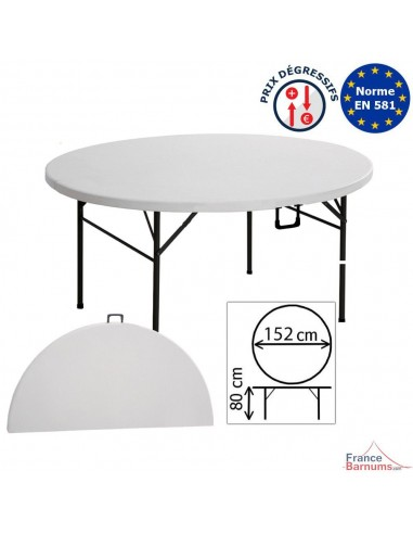 Table pliante ronde en polyéthylène haute densité