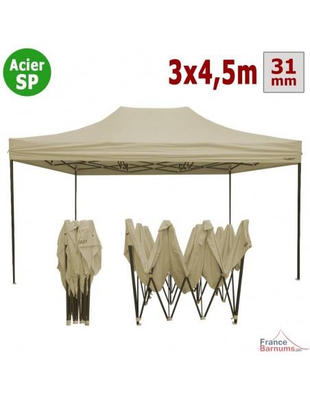 Barnum pliant - Tonnelle Acier Semi Pro 3mx4,5m BEIGE
