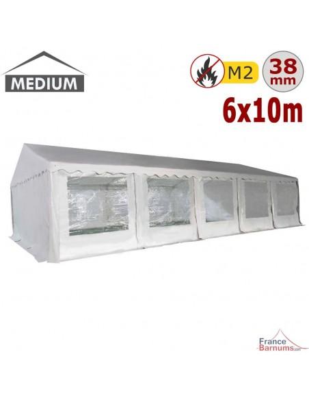 Tente de réception - Chapiteau de festivités MEDIUM en PVC de 6m x 10m avec Tubes de 38mm