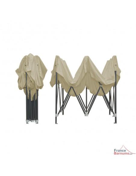 Barnum pliant Acier Semi Pro beige 3x3m sans côtés montage rapide type parapluie