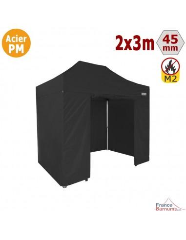 Barnum Pliant - Stand Acier Premium M2 2x3m NOIR + Pack Côtés 380gr/m²