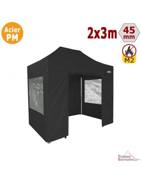 Barnum Pliant - Stand Acier Premium M2 2x3m NOIR + Pack Fenêtres 380gr/m²