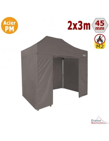 Barnum Pliant - Stand Acier Premium M2 2x3m TAUPE + Pack Côtés 380gr/m²