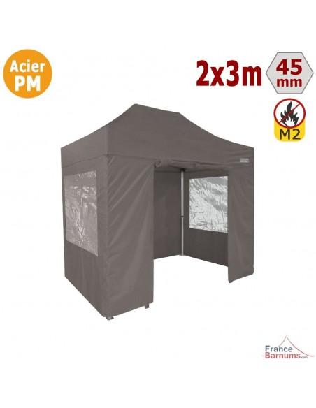 Barnum Pliant - Stand Acier Premium M2 2x3m TAUPE + Pack Fenêtres 380gr/m²