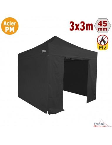 Barnum Pliant - Stand Acier Premium M2 3x3m NOIR + Pack Côtés 380gr/m²