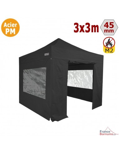 Barnum Pliant - Stand Acier Premium M2 3x3m NOIR + Pack Fenêtres 380gr/m²