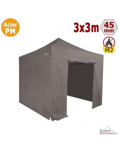 Barnum Pliant - Stand Acier Premium M2 3x3m TAUPE + Pack Côtés 380gr/m²