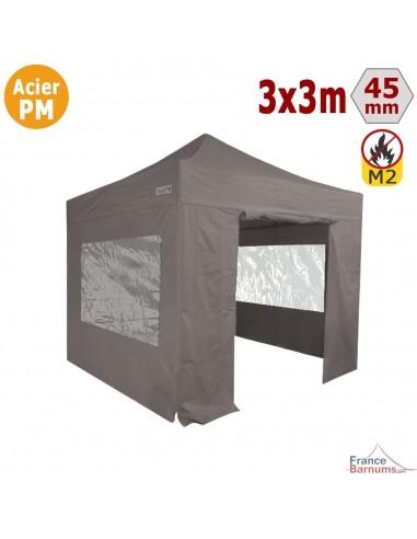 Barnum Pliant - Stand Acier Premium M2 3x3m TAUPE + Pack Fenêtres 380gr/m²