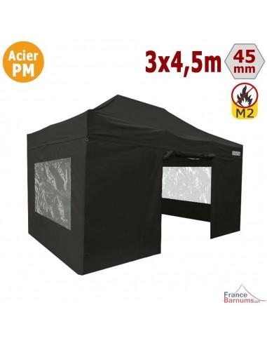 Barnum Pliant - Stand Acier Premium M2 3x4,5m NOIR + Pack Fenêtres 380gr/m²