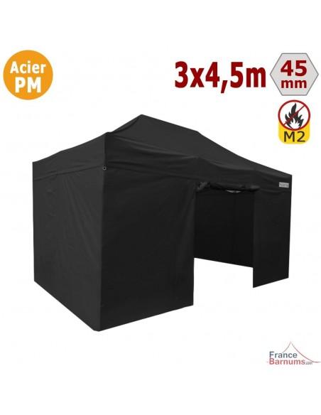 Barnum Pliant - Stand Acier Premium M2 3x4,5m NOIR + Pack Côtés 380gr/m²