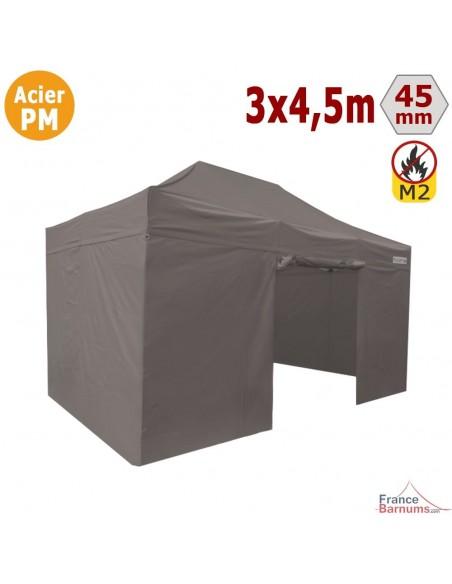 Barnum Pliant - Stand Acier Premium M2 3x4,5m TAUPE + Pack Côtés 380gr/m²