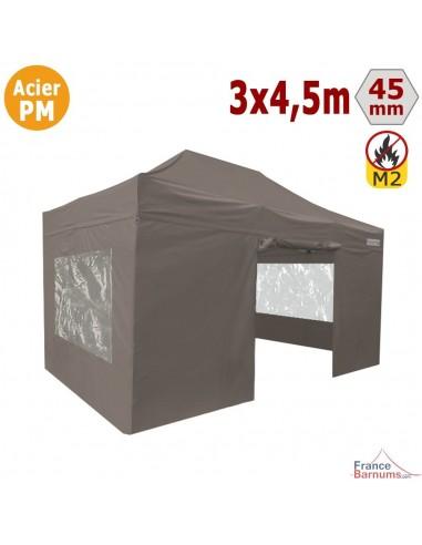 Barnum Pliant - Stand Acier Premium M2 3x4,5m TAUPE + Pack Fenêtres 380gr/m²