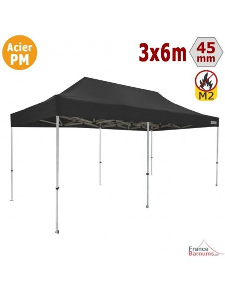 Barnum Pliant - Stand Acier Premium M2 3x6m NOIR 380gr/m²