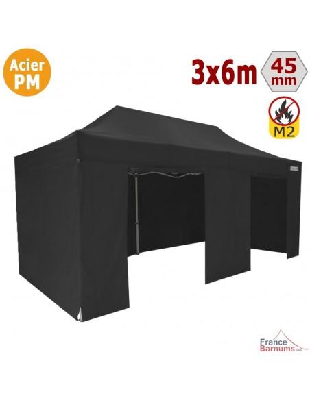 Barnum Pliant - Stand Acier Premium M2 3x6m NOIR + Pack Côtés 380gr/m²