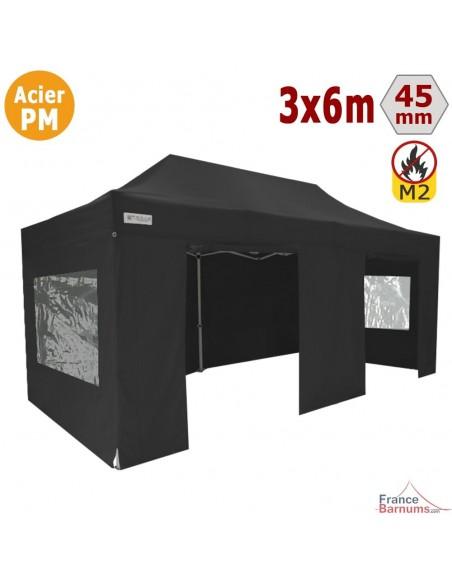 Barnum Pliant - Stand Acier Premium M2 3x6m NOIR + Pack Fenêtres 380gr/m²