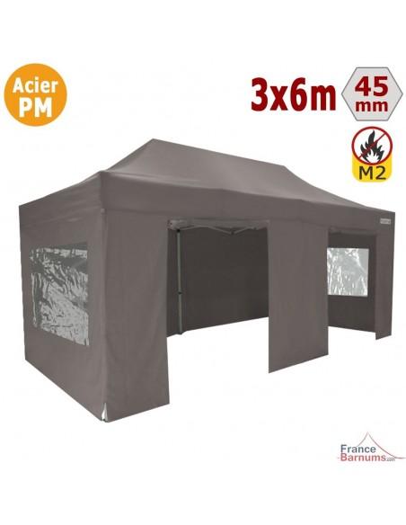 Barnum Pliant - Stand Acier Premium M2 3x6m TAUPE + Pack Fenêtres 380gr/m²
