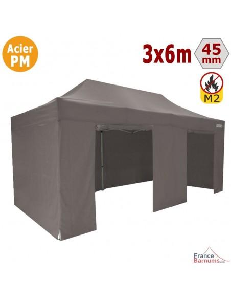 Barnum Pliant - Stand Acier Premium M2 3x6m TAUPE + Pack Côtés 380gr/m²