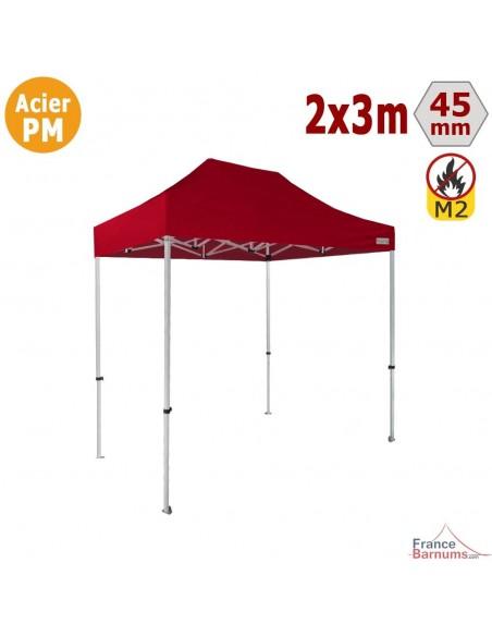 Barnum Pliant - Stand Acier Premium M2 2x3m ROUGE 380gr/m²