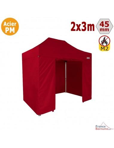 Barnum Pliant - Stand Acier Premium M2 2x3m ROUGE + Pack Côtés 380gr/m²