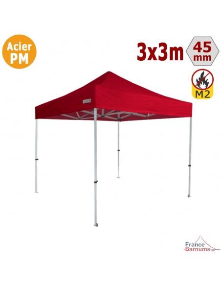 Barnum Pliant - Stand Acier Premium M2 3x3m ROUGE 380gr/m²