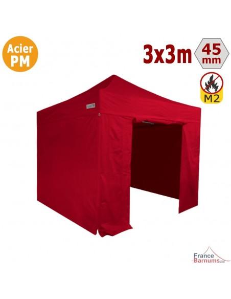 Barnum Pliant - Stand Acier Premium M2 3x3m ROUGE + Pack Côtés 380gr/m²