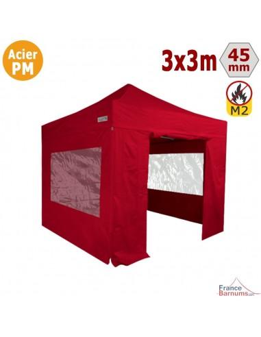Barnum Pliant - Stand Acier Premium M2 3x3m ROUGE + Pack Fenêtres 380gr/m²