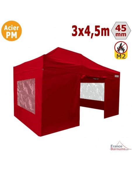 Barnum Pliant - Stand Acier Premium M2 3x4,5m ROUGE + Pack Fenêtres 380gr/m²