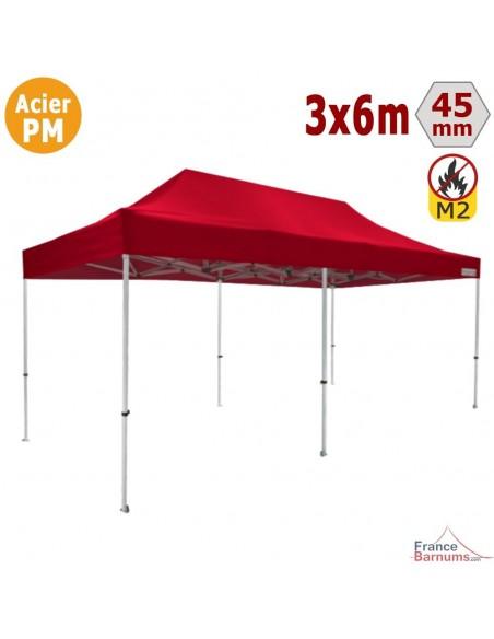 Barnum Pliant - Stand Acier Premium M2 3x6m ROUGE 380gr/m²