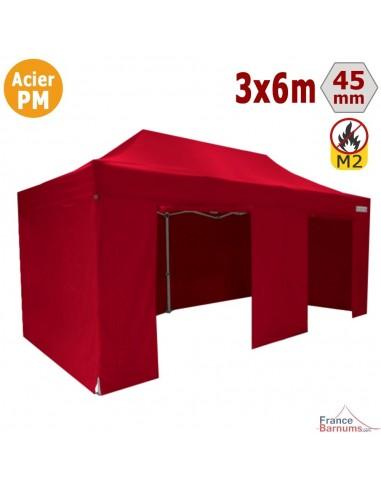 Barnum Pliant - Stand Acier Premium M2 3x6m ROUGE + Pack Côtés 380gr/m²