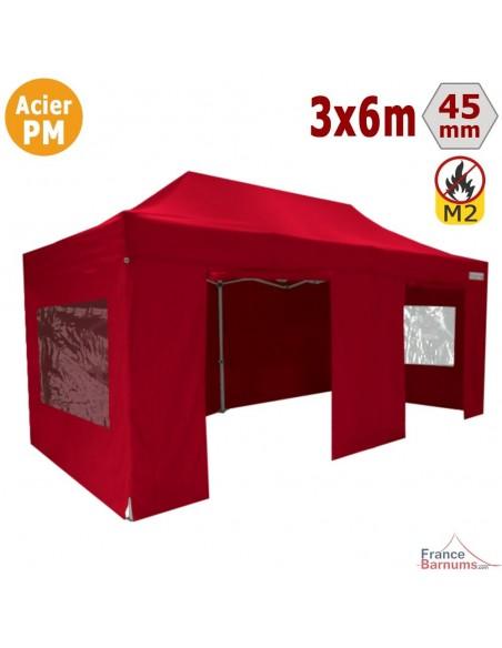 Barnum Pliant - Stand Acier Premium M2 3x6m ROUGE + Pack Fenêtres 380gr/m²
