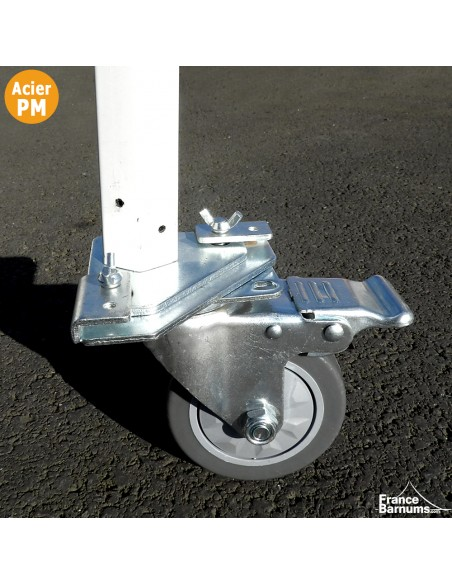 Roulette avec frein adaptée pour nos barnums pliants Acier Premium