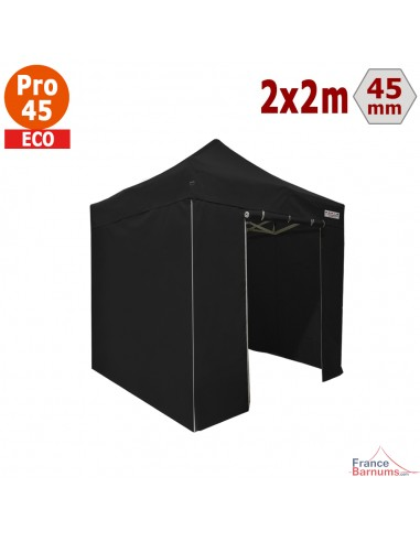 Barnum pliant - Tente pliante Alu Pro 45 ECO 2mx2m NOIR avec Pack 4 Côtés