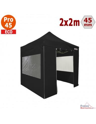 Barnum pliant - Tente pliante Alu Pro 45 ECO 2mx2m NOIR avec Pack Fenêtres