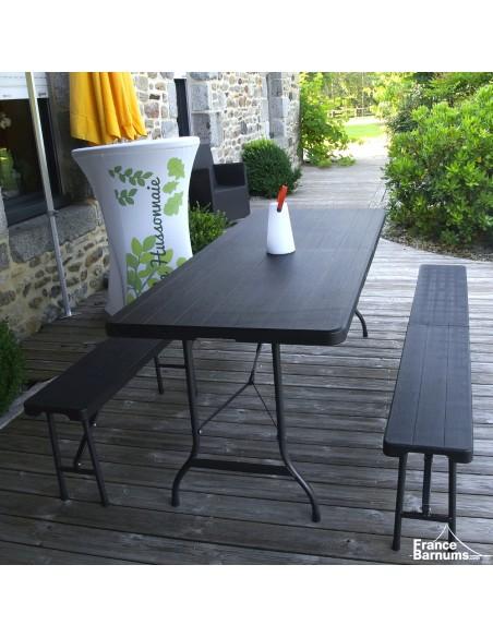 Table de réception rectangulaire NOIRE imitation BOIS de 180cm pliante en VALISE